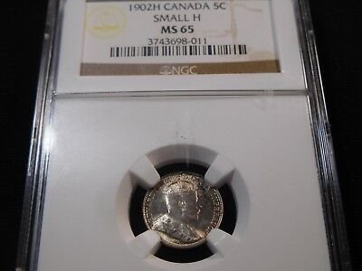 L383 Canada 1902-H 5 Cents Small-H NGC MS-65 RARE, Trends $780