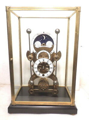 Antique Style Brass Moon Dial Grasshopper Clock With Glass Dome