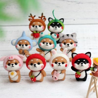 1Set DIY Various Animals Non Finished Wool Felt Poked for Needle Material Bag