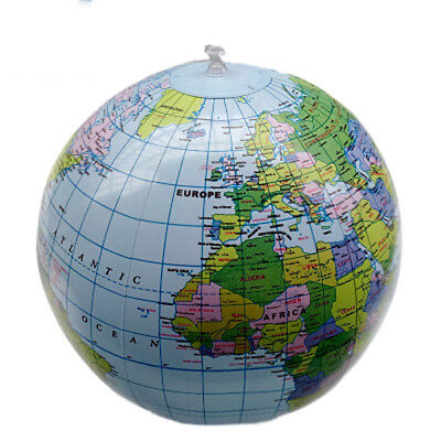Blue Inflatable World Globe Earth Map Geography Teacher Aid Ball Child Toy40cm W