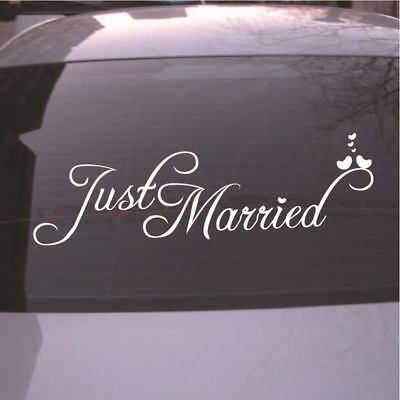 Creative Just Married Wedding Car Cling Decal Sticker Window Banner Decoration W