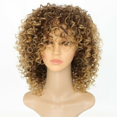New Blonde Kinky Curly Wig Afro American Wigs Soft&healthy Synthetic Wig WE9X