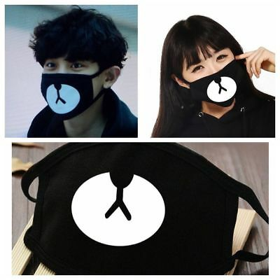 Kpop Men Women Black Cotton Cycling Anti-Dust Bear Mouth Face Mask Respirator