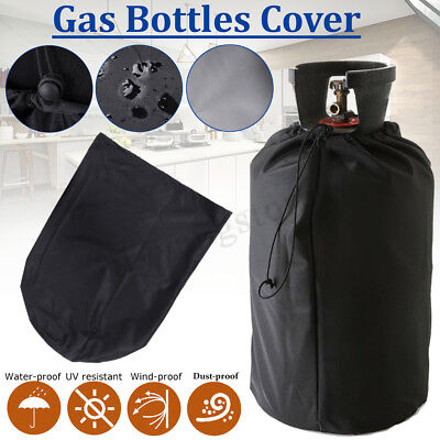Black Waterproof Cover UV Protective Dust-proof Cover for Gas Bottles Barbecue