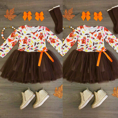 US 2PCS Kids Baby Girl Thanksgiving Top Tulle Tutu Dress Headband Outfit Clothes