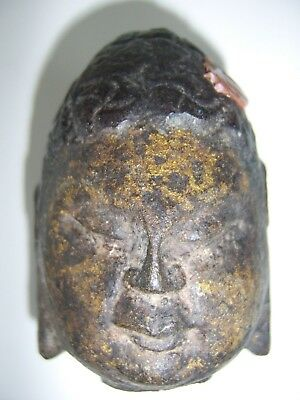 Very Rare Ancient Antique Carved Chinese Stone Buddha Head Gilding Remain