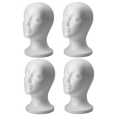 4pc MANNEQUIN STYROFOAM FOAM HEAD MODEL WIG GLASSES HAT DISPLAY STAND FEMALE