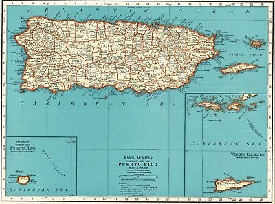 1937 Antique PUERTO RICO Map Vintage Map of Puerto Rico Gallery Wall Art #5826
