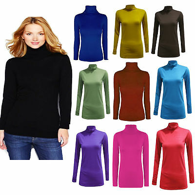 Women Ladies Polo Neck Top Stretch Long Sleeve Turtle Neck Top Jumper Shirt