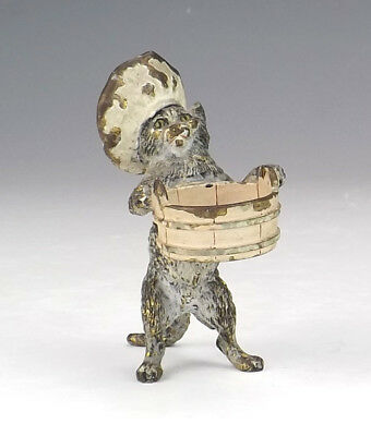 Antique Vienna Cold Painted Bronze - Comical Chef Cat With Bowl Figure
