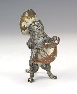 Antique Vienna Cold Painted Bronze - Comical Chef Cat With Bowl & Whisk