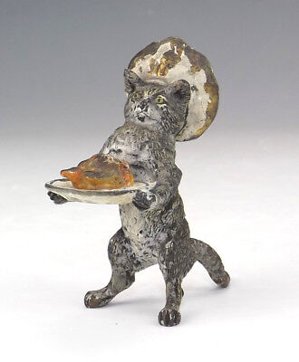 Antique Vienna Cold Painted Bronze - Comical Chef Cat With Roast Chicken