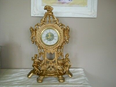 Vintage Rococo Style Mantle Clock - Working.
