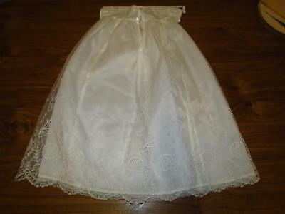 RETRO VINTAGE 1960s NYLON CHRISTENING GOWN WITH LACE OVERLAY EXCELLENT CONDITION