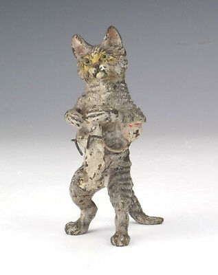 Antique Vienna Cold Painted Bronze - Comical Cat Knitting Figure - Unusual!