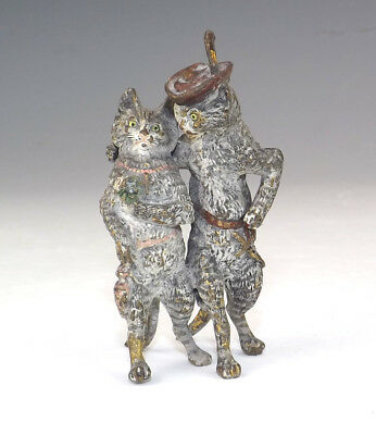 Antique Vienna Cold Painted Bronze - Comical Courting Cats Figure - Unusual!