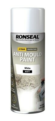 Ronseal 6 Year Quick Dry Anti Mould Spray Paint White 400ml for Walls & Celings