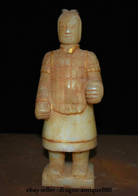 """10.2"""" Old China Natural White Jade Terracotta Warriors Terracotta Army Sculpture"""