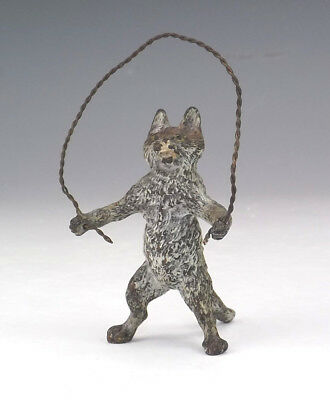 Antique Vienna Cold Painted Bronze - Comical Skipping Cat Figure - Unusual!