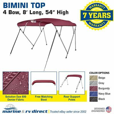 "New Pontoon  Bimini Top Boat Cover 4 Bow 54"" H 85"" - 90"" W 8 ft. Long Burgundy"