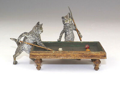 Antique Vienna Cold Painted Bronze - Comical Cats Playing Billiards Or Snooker