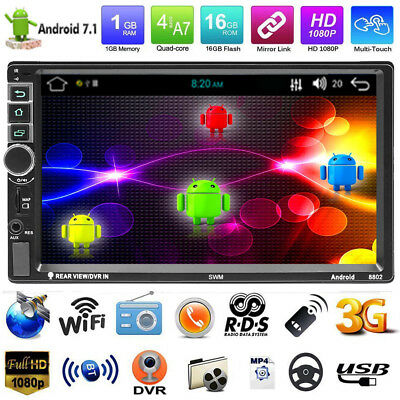 """Quad Core Android 7.1 7"""" 2DIN Car Stereo MP5 3G WIFI Player GPS RDS FM/AM Radio"""