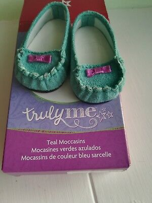 American Girl doll TRULY ME TEAL MOCCASINS shoes boxed genuine