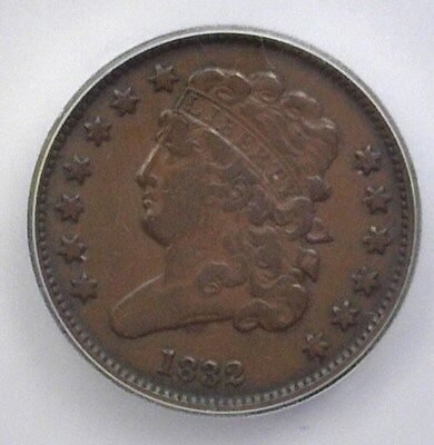 1832 Classic Head Half Cent  Icg F15 Lists For $100!