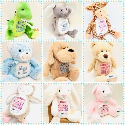 Personalised Embroidered Animals Mumbles Teddy Bear Soft Toy Birth Christening