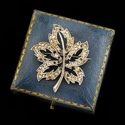 Antique Vintage Deco White Metal English Glass Marcasite Maple Leaf Pin Brooch