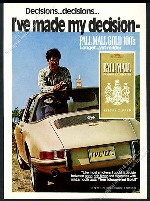 1971 Porsche 911 T 911T Targa car photo Pall Mall cigarettes vintage print ad