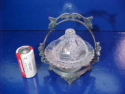 19thc VICTORIAN Era CHILDS GLASS BUTTER DISH in Ornate SILVERPLATE FRAME