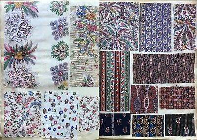 Beautiful 19th C.French Cotton Swatch Book Collection 18 Pages, 96 Swatches -832