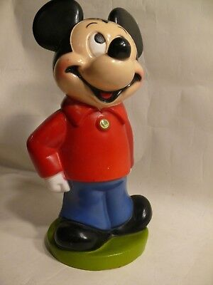 "Vintage 1970s Mickey Mouse 11"" Coin Bank by Play Pal Plastics"