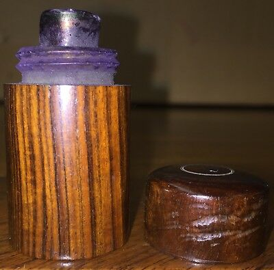Antique Civil War EraCarved Wood Traveling Ink Well with Intact Glass Vial