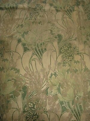 Antique Fabric Art Nouveau Metallic Floral Design Olive/bronze/khaki Panel Woven