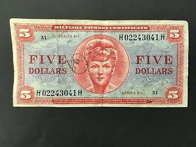 USA  5 Dollars  MPC  --  Series 611  -- Military Payment Certificate