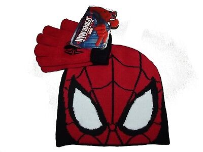 bnwt spiderman  hat & gloves set one size 4-8 yrs