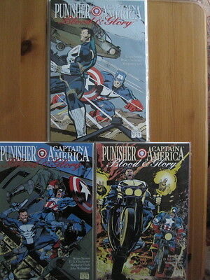 """PUNISHER & CAPTAIN AMERICA """"BLOOD & GLORY"""".1992 PRESTIGE FORMAT 3 issue M/series"""