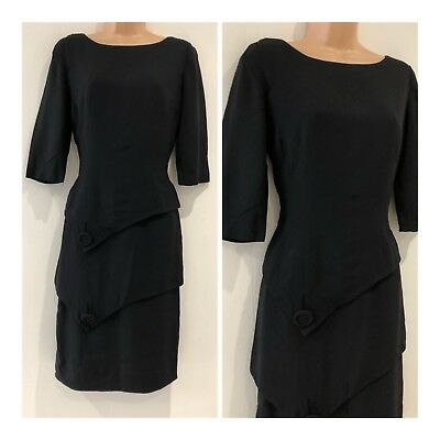 Vintage Late 1940's Marion McCoy Black Pointed Layer Evening Shift Dress Size 12