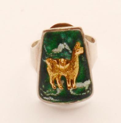 SUPERB RARE UNUSUAL VINTAGE MEXICAN MEXICO SIGNED SILVER ENAMEL & 18ct GOLD RING