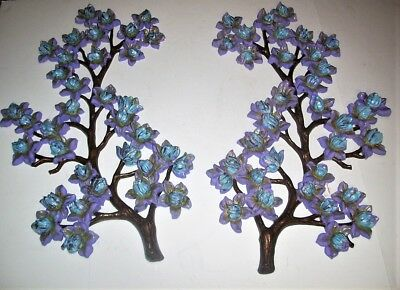 Vintage Pair Of 1963 Syroco Wall Hanging, Large Magnolia Branch, Blue Flowers