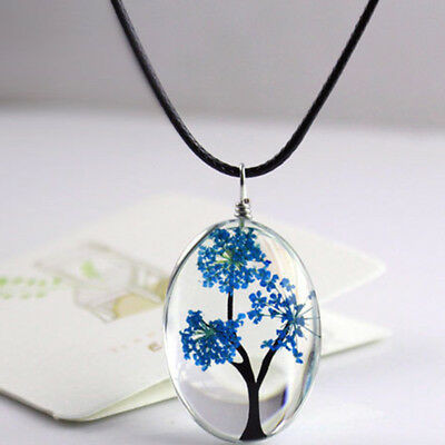 Multi Colors Tree of Life Glass Oval Pendant Necklace Gift Charm Jewelry S