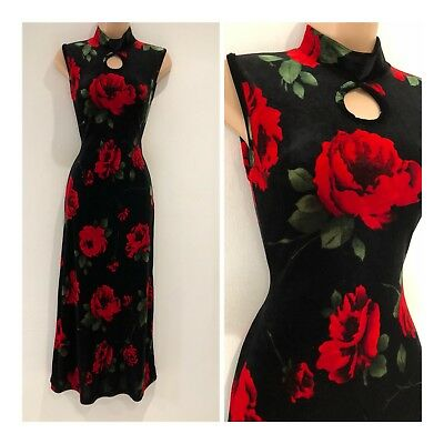 Vintage 90's Black & Red Bold Rose Floral Velour Fitted Wiggle Party Dress 6-8