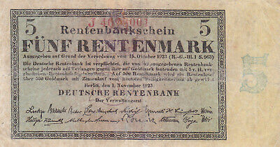 5 Rentenmark  Fine Banknote From Germany 1923!pick-163!rare