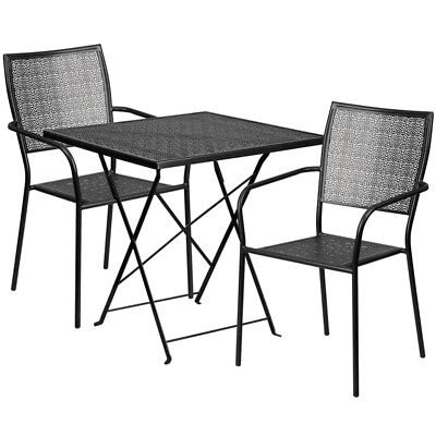 Flash Furniture Contemporary Table Chair Set In Black CO-28SQF-02CHR2-BK-GG