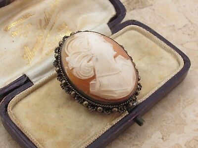 Vintage Sterling Silver 925 & Carved Shell Cameo Brooch