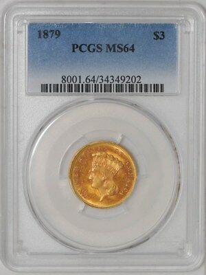 1879 $3 Gold Indian #937518-5 MS64 PCGS