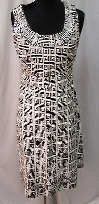 Tory Burch Womens Black/White Stretchy Knit Abstract Design Sheath Dress SZ 8
