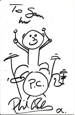 Phil Collins of Genesis Hand Signed Drawing of Himself as Drummer